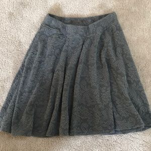 Abercrombie & Fitch Gray Floral Skater Skirt